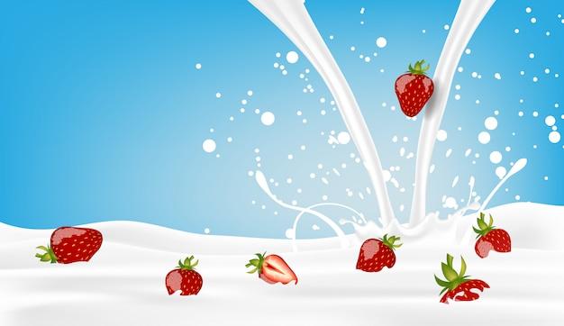 Fragola con latte di versamento sul blu Vettore Premium