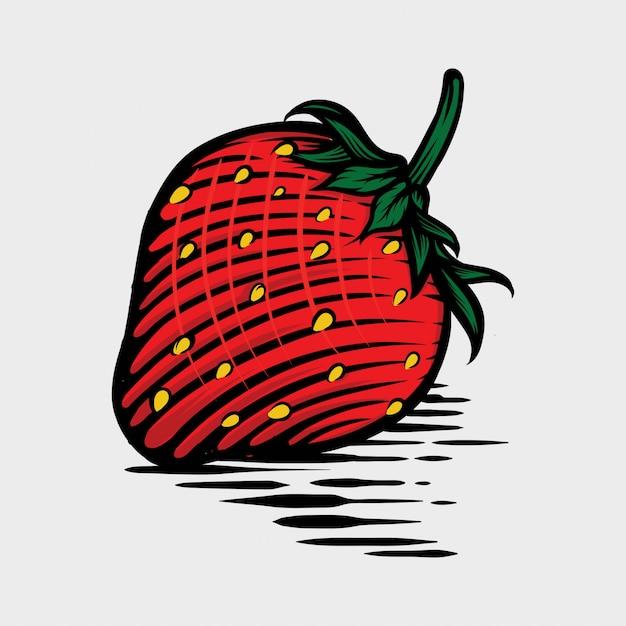 Fragola nell'illustrazione disegnata a mano di vettore di stile grafico Vettore Premium