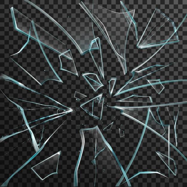 Frammenti realistici di vetro rotto trasparente Vettore gratuito