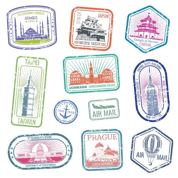 Francobolli di viaggio d'epoca con i principali monumenti e monumenti insieme vettoriale. raccolta di grunge timbro per posta aerea e illustrazione di viaggio Vettore Premium