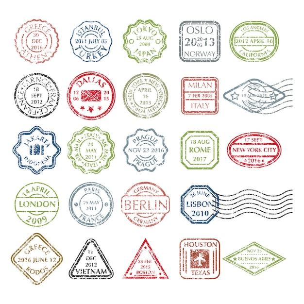 Francobolli postali grungy colorati impostati in diverse forme da 24 città nel mondo Vettore Premium