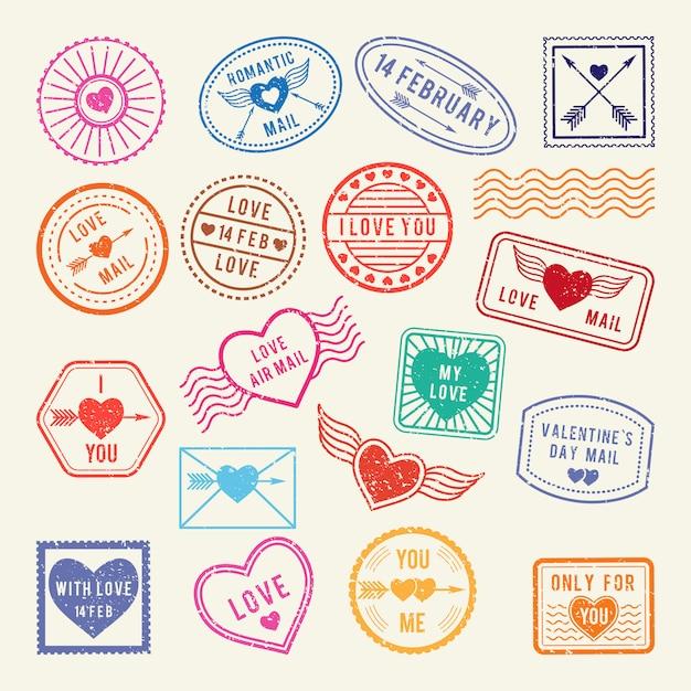 Francobolli postali romantici d'epoca. vector gli elementi di amore per l'album o le lettere progettano Vettore Premium