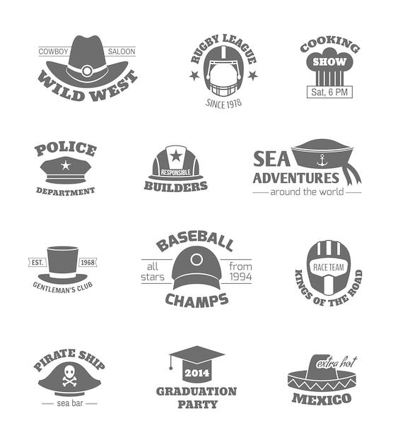 Francobolli professioni cappello Vettore Premium