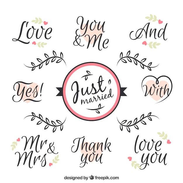 Frasi d'amore per il giorno di nozze Vettore gratuito