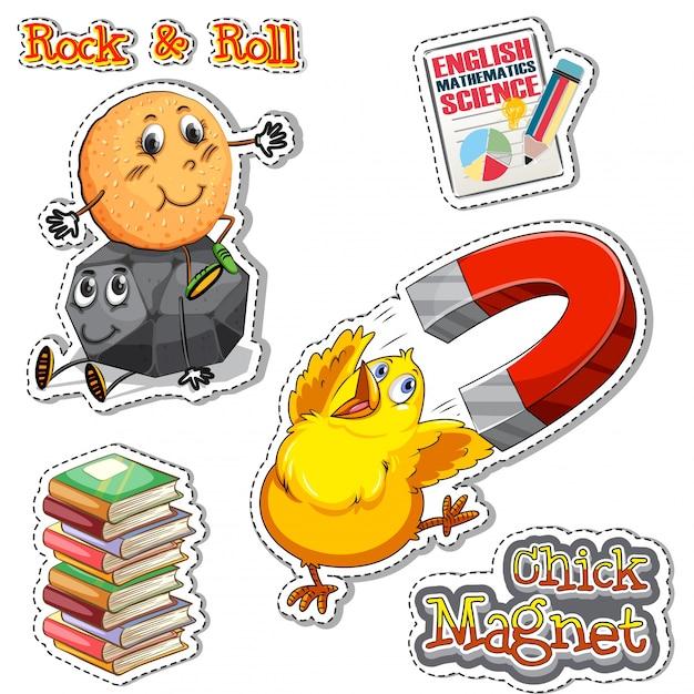 Frasi inglese per il magnete di pollo e rock & roll Vettore gratuito