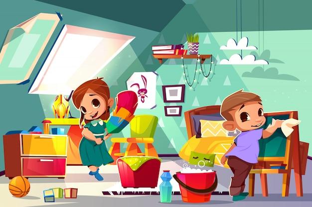 Fratello e sorella che puliscono nella illustrazione del fumetto della camera da letto dei bambini con i caratteri della ragazza e del ragazzo Vettore gratuito