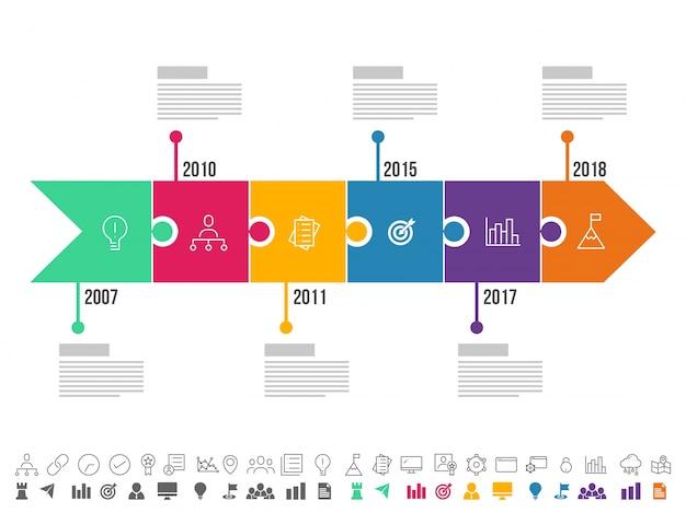Frecce a sei gradini, layout timeline infographics con icone impostate, in versione in bianco e nero e colorato. Vettore Premium