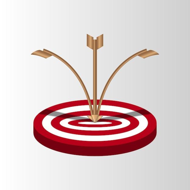 Frecce bersaglio mancano il tiro mancato, tentativi imprecisi di colpire il tiro con l'arco Vettore Premium