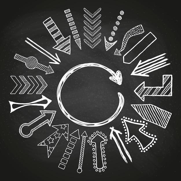 Frecce bianche schizzate disegnate a mano Vettore Premium