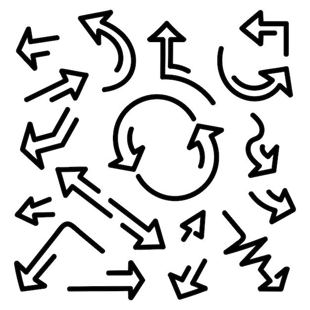 Frecce disegnate a mano, impostato su uno sfondo bianco. Vettore Premium