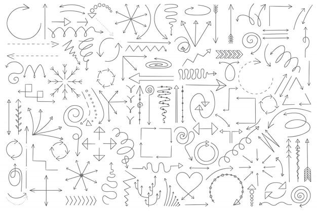 Frecce doodle set Vettore Premium