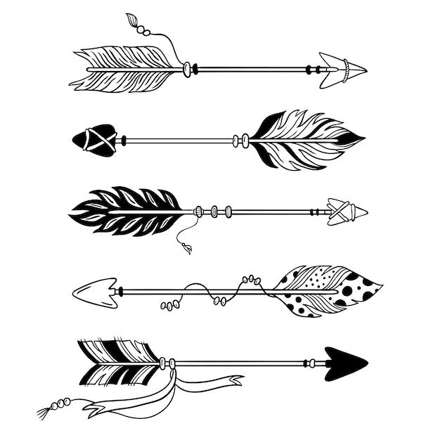 Frecce etniche freccia disegnata a mano della piuma, piume tribali sul puntatore e insieme isolato arco decorativo di boho Vettore Premium