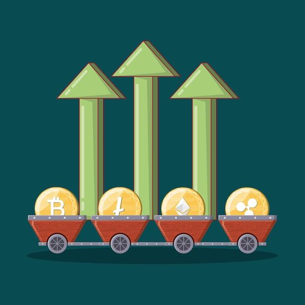 Frecce finanziarie verdi e carrelli minerari Vettore Premium