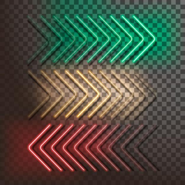 Frecce verdi, gialle e rosse al neon su un trasparente. illustrazione vettoriale Vettore Premium