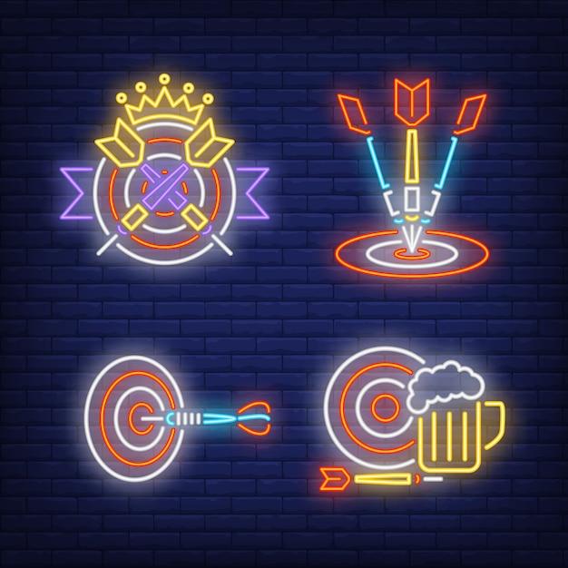 Freccette che colpiscono obiettivi, insegne al neon corona e boccale di birra set Vettore gratuito
