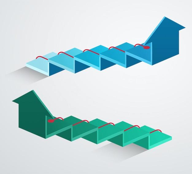 Freccia 3d con puntatore in aumento rosso. struttura aziendale blu e verde di crescita Vettore Premium
