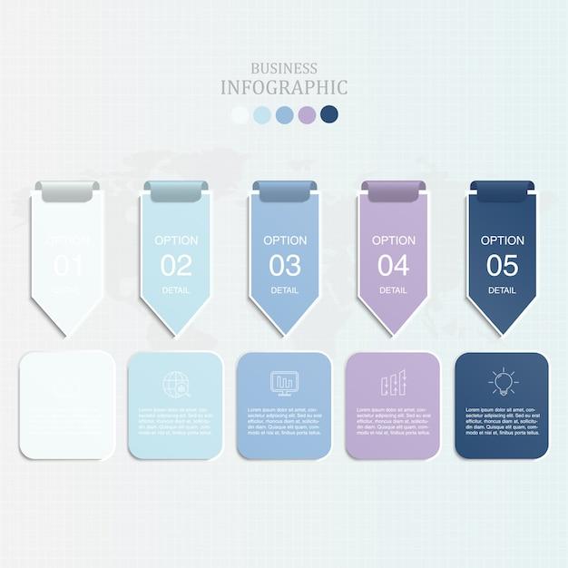 Freccia blu di colore infographics ed icone Vettore Premium