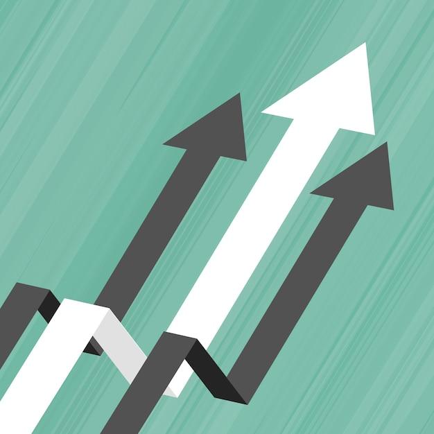 Freccia che si muove verso l'alto il concetto di business concept di leadership Vettore gratuito