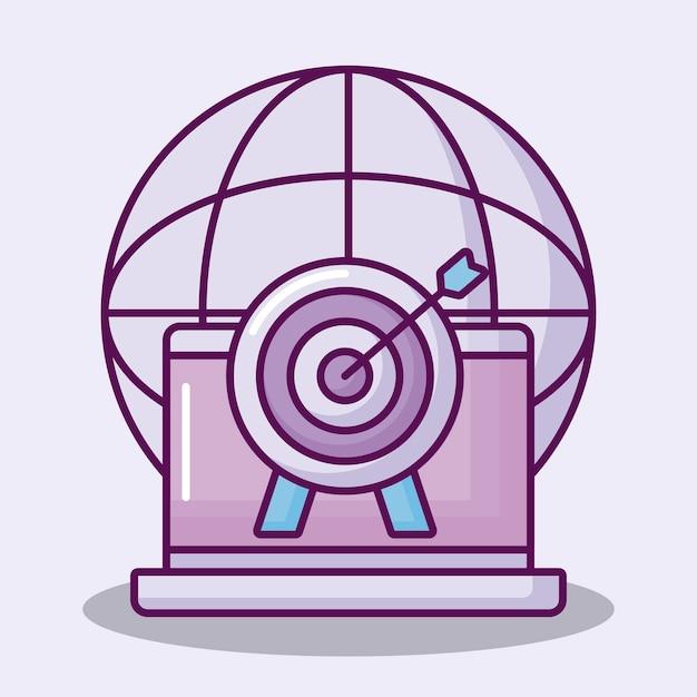 Freccia di destinazione con icone set Vettore gratuito