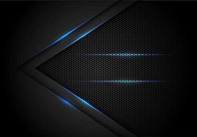 Freccia di luce blu su sfondo nero con esagono mesh. Vettore Premium