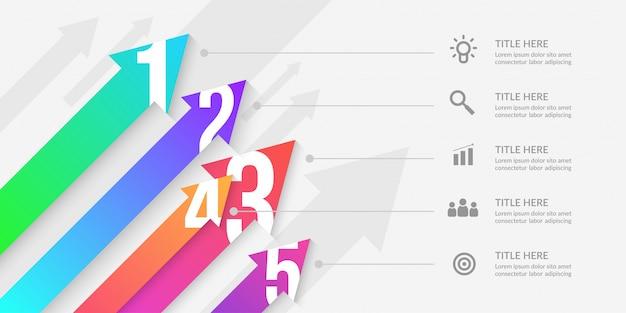 Freccia infografica con segmenti modificabili, elementi di flusso di lavoro grafico colorato Vettore Premium