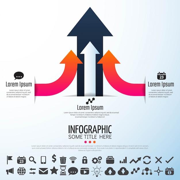 Freccia infographics design template Vettore gratuito