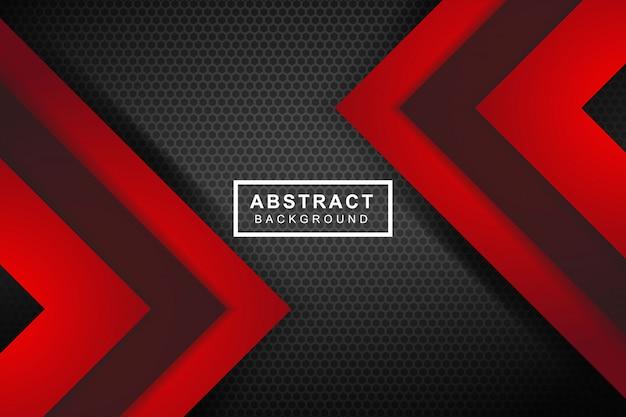 Freccia rossa astratta sul fondo futuristico moderno di progettazione della maglia del cerchio grigio scuro Vettore Premium