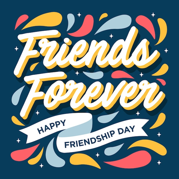 Friends forever happy friendship day greeting card Vettore Premium