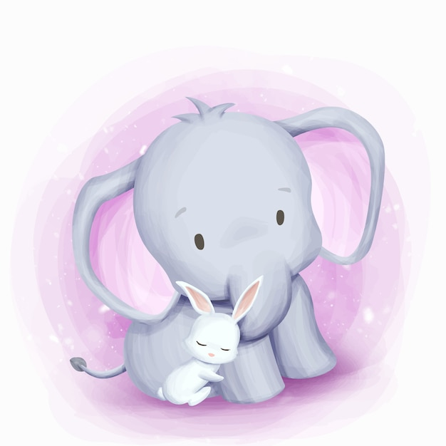 Friendship elephant and rabbit Vettore Premium
