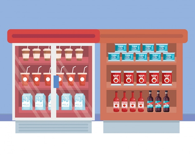 Frigorifero da supermercato con ripiano e prodotti Vettore gratuito