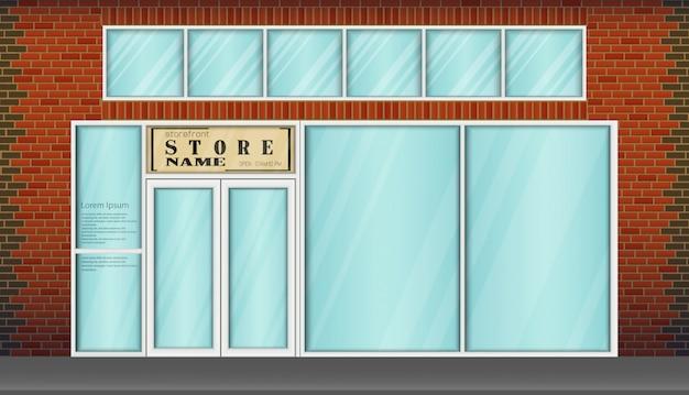 Frontale del negozio di design piatto con il posto per il nome del negozio Vettore Premium