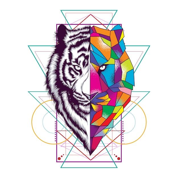 Fronte della tigre con ornamento di geometria sacra Vettore Premium