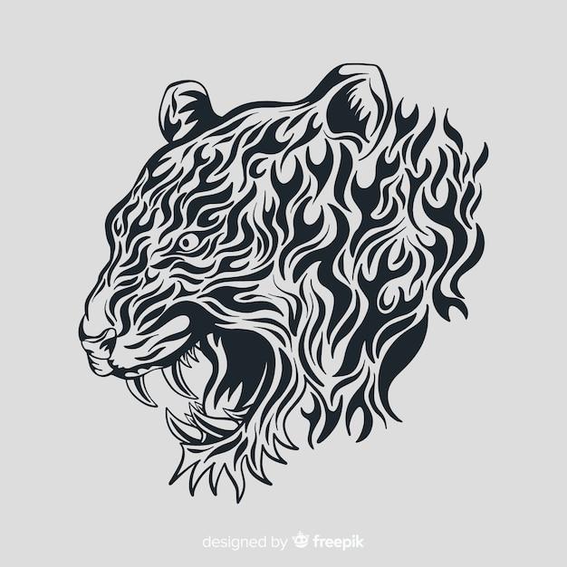 Fronte della tigre con stile tribale Vettore gratuito