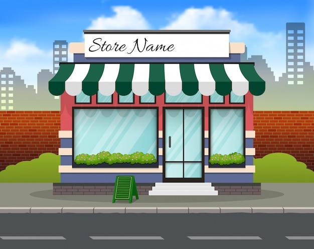 Fronte negozio di design piatto con il posto per nome Vettore Premium