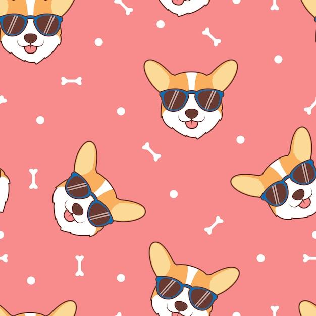 Fronte sveglio del cane del corgi con il modello senza cuciture del fumetto degli occhiali da sole Vettore Premium