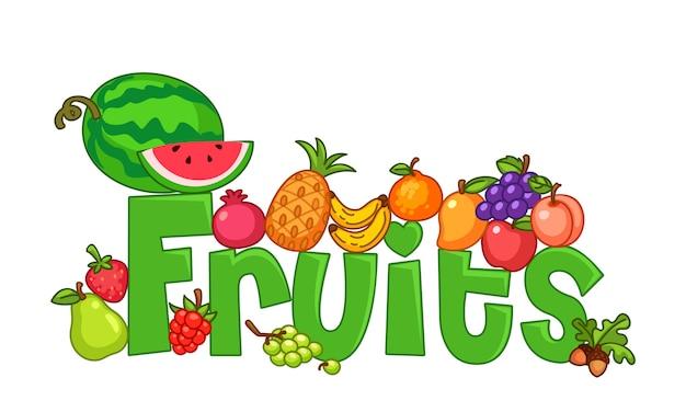 Frutta con testo Vettore Premium