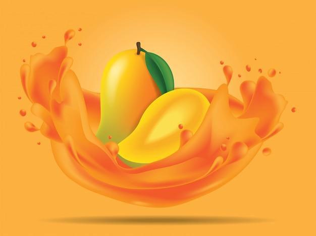 Frutta del mango con l'illustrazione del succo della spruzzata Vettore Premium