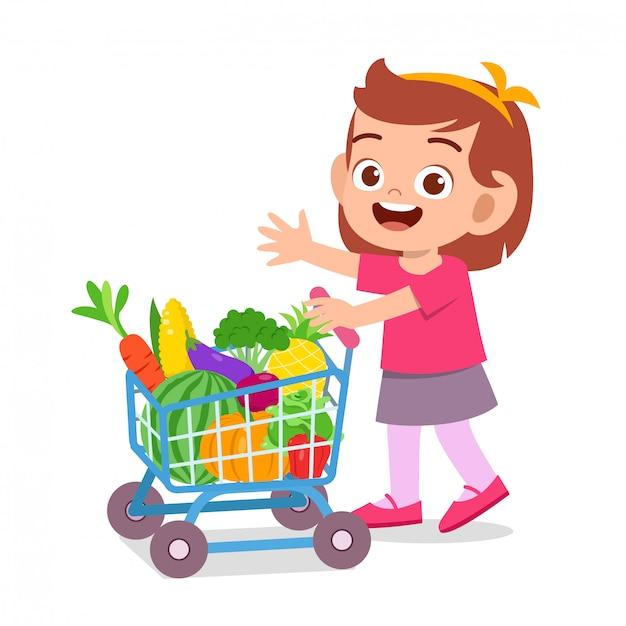 Frutta e verdura d'acquisto del bambino felice sveglio Vettore Premium