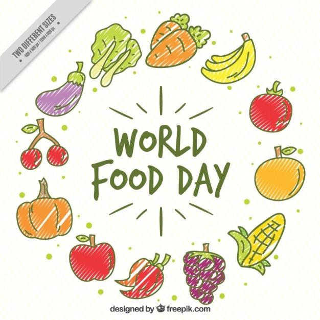 Frutta e verdura per la giornata mondiale dell'alimentazione Vettore gratuito
