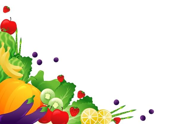 Frutta e verdure sul fondo bianco dello spazio della copia Vettore gratuito