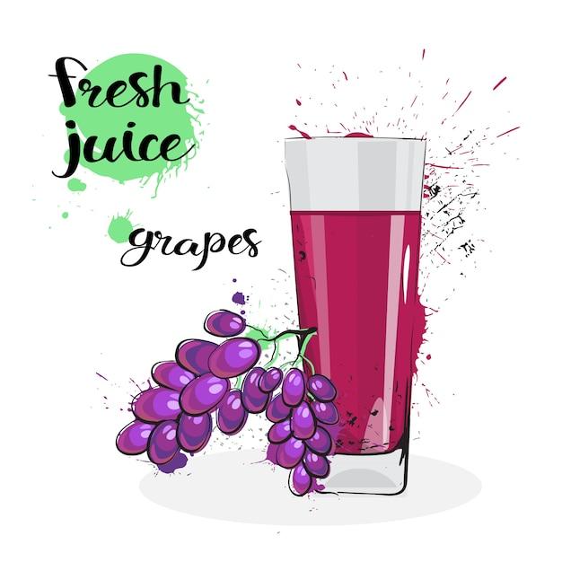 Frutta e vetro disegnati a mano freschi dell'acquerello del succo dell'uva su fondo bianco Vettore Premium