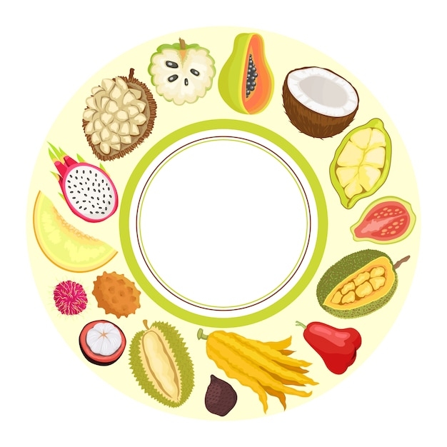 Frutta esotica durian apple papaya citron vector Vettore Premium