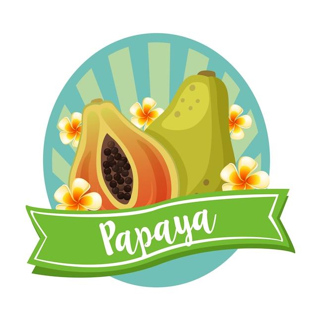 Frutta esotica etichetta papaia Vettore Premium