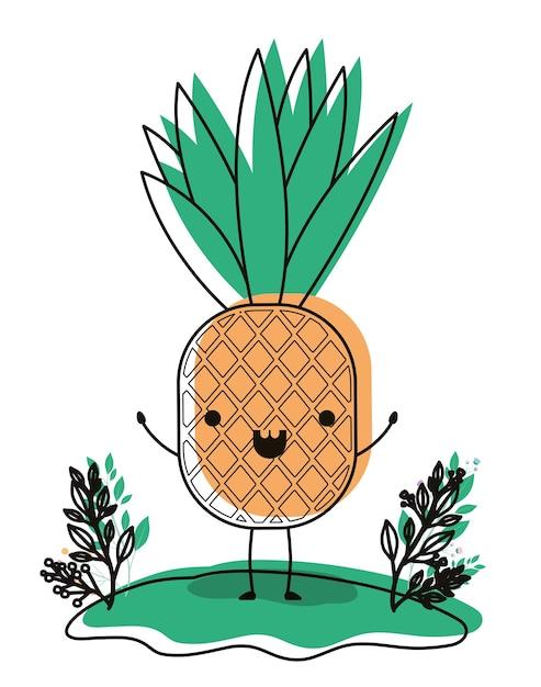 Frutta Fresca Di Ananas Nel Carattere Kawaii Di Campo Scaricare