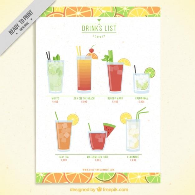 Frutta lista di drink template Vettore gratuito