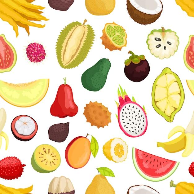 Frutta tropicale senza cuciture Vettore Premium