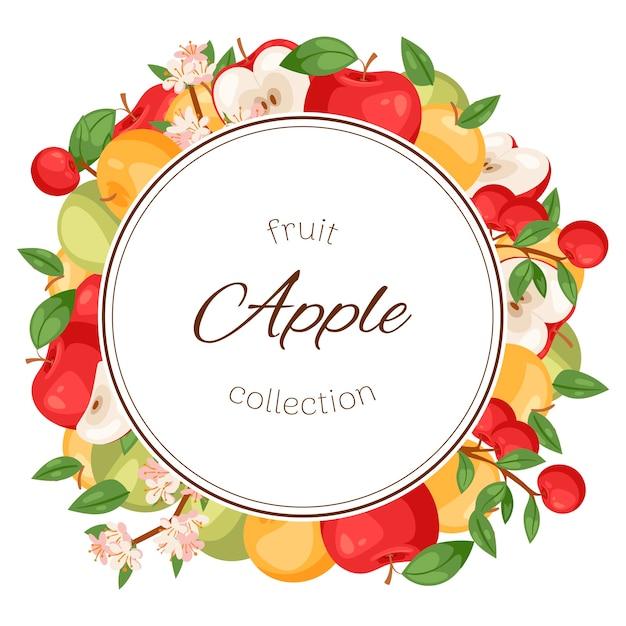 Frutti di mele. cornice di cibo andganico fresco sano. Vettore Premium