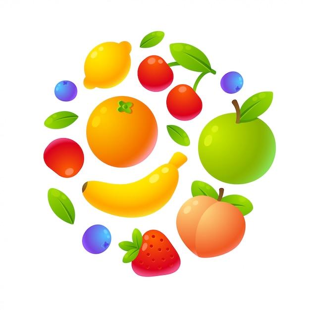 Frutti in cerchio Vettore Premium