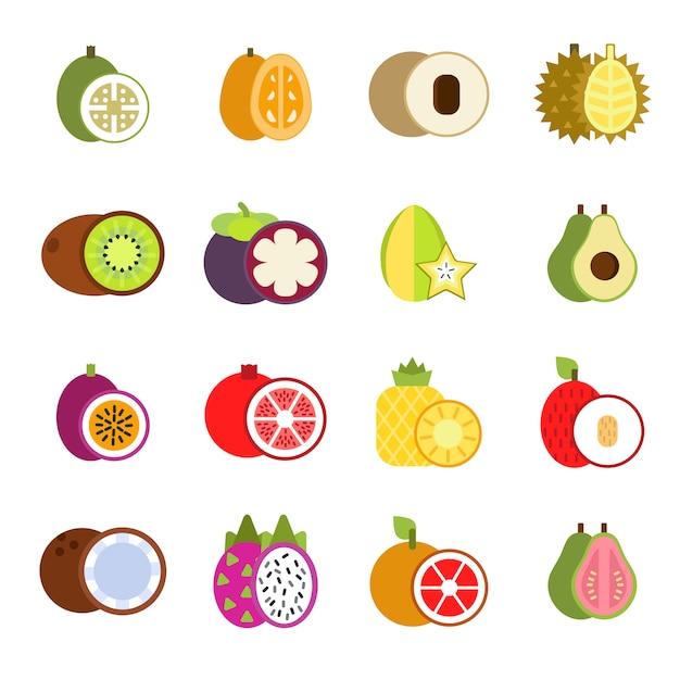 Frutti tropicali in stile piatto Vettore Premium