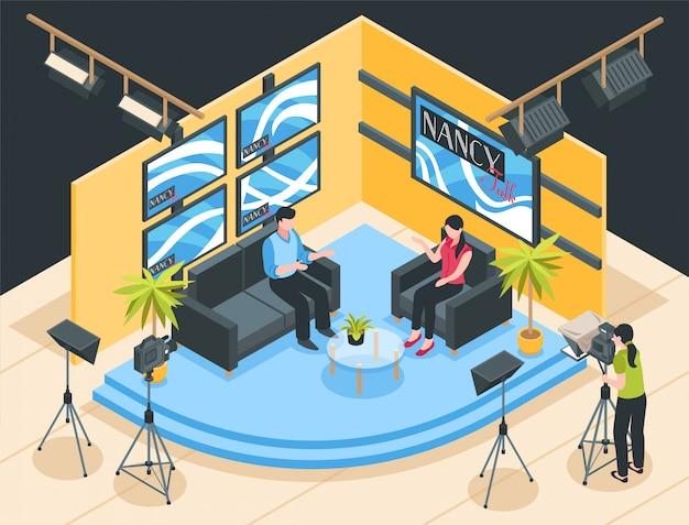 Fucilazione del talk show nell'illustrazione isometrica dello studio della tv Vettore gratuito